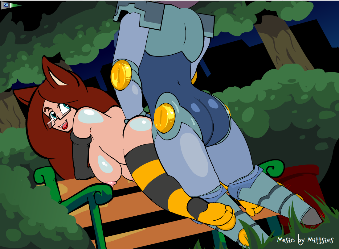 Park Sex on a Park Bench at Night With Robot