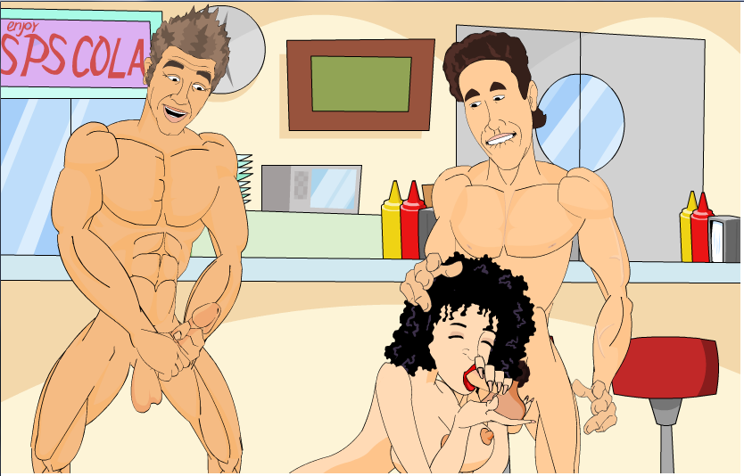 Seinfelt Elaine giving Jerry Blowjob Kramer Jacking Off in Restarunt Adult Cartoon Video